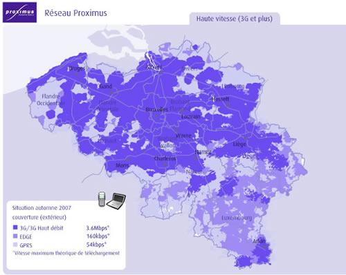 Proximus couverture réseau septembre 2007