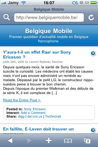 Belgique Mobile sur iPhone