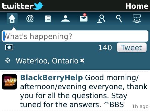 Twitter for BlackBerry 1.1