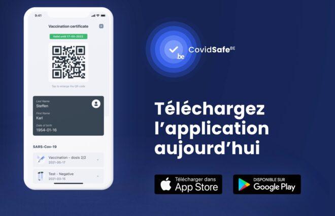 Capture d'écran de l'application CovidSafe Belgique