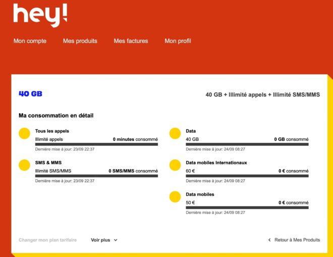 Espace client de Hey par Orange pour un client à 40GB par mois