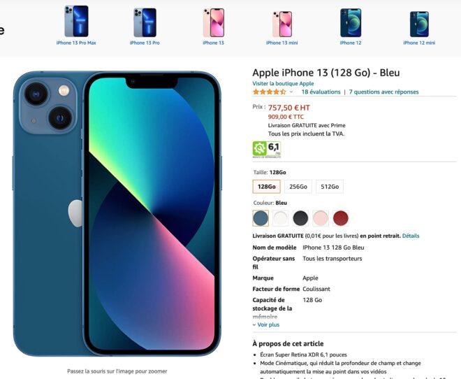 Acheter un iPhone 13 sans la TVA en Belgique : possible via Amazon sur cette page